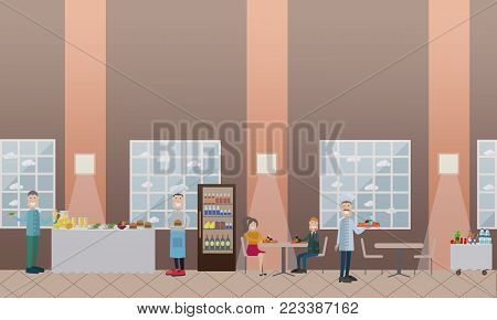 Vector illustration of students having lunch break, school cooks with fast food. School canteen or dining room interior with furniture. School concept flat style design elements.