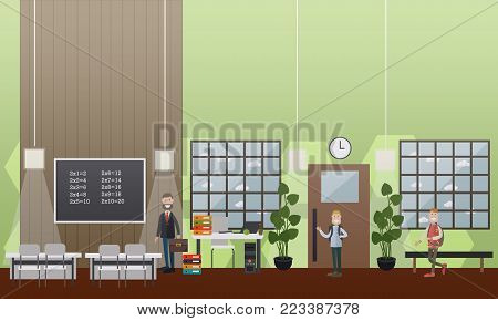 Vector illustration of maths teacher and schoolboys, classroom and school hallway interior with furniture and supplies. School concept flat style design elements.