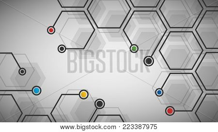 Vector illustration of hexagonal cells background. Digital futuristic template. Abstract geometric hexagon background for your design