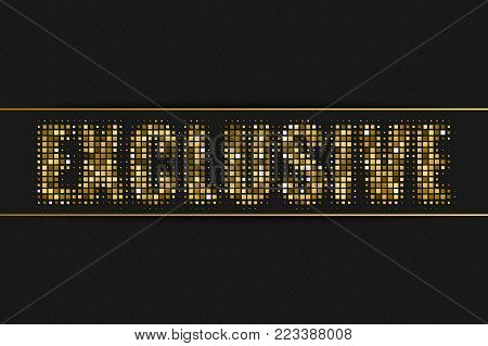 Exclusive golden halftone advertising sign with geometric pattern for your design