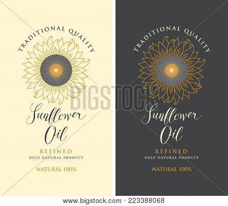 Set of two vector labels for refined sunflower oil with sunflower and handwritten inscription