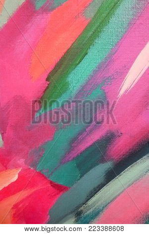 Bright big strokes of pink and green oil paint on canvas. Abstract background.