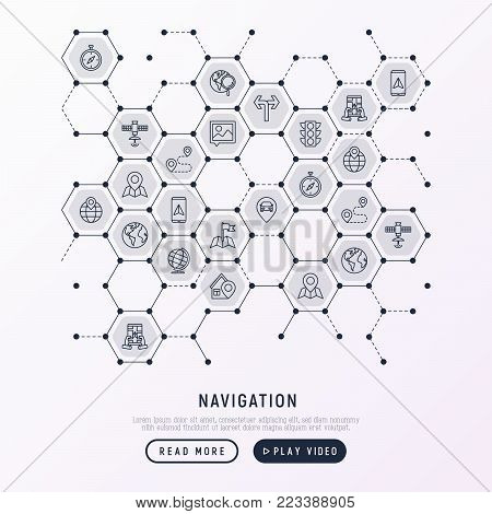 Navigation and direction concept in honeycombs with thin line icons: pointer, compass, navigator on tablet, traffic light, store locator, satellite. Modern vector illustration for banner, web page.