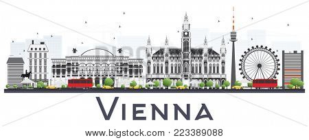 Vienna Austria City Skyline with Gray Buildings Isolated on White Background. Business Travel and Tourism Concept with Historic Buildings. Vienna Cityscape with Landmarks.