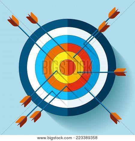 Target icon in flat style on color background. Many arrows are not in the center aim. Vector design element for you business projects