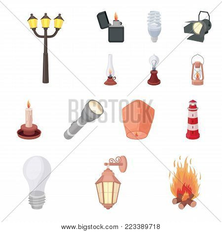 Light source cartoon icons in set collection for design. Light and equipment vector symbol stock  illustration.