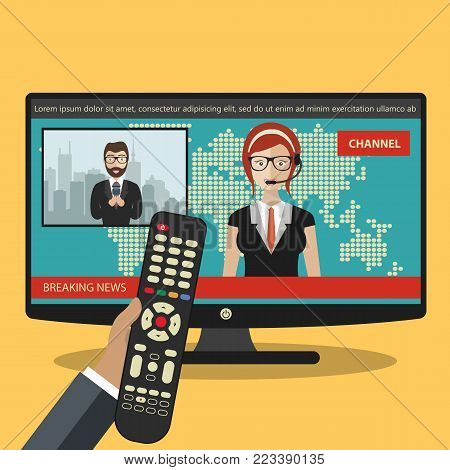 Breaking news concept. News on television with remote control. News anchor broadcasting the news with a reporter live on screen. Flat vector illustration