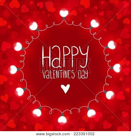 Red vector background with lights for Valentines day. You can use for greeting cards, posters and design projects.