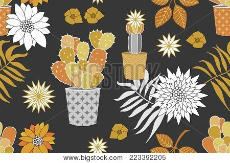 Seamless vector pattern with cacti, leaves and flowers. Golden and silver palette.