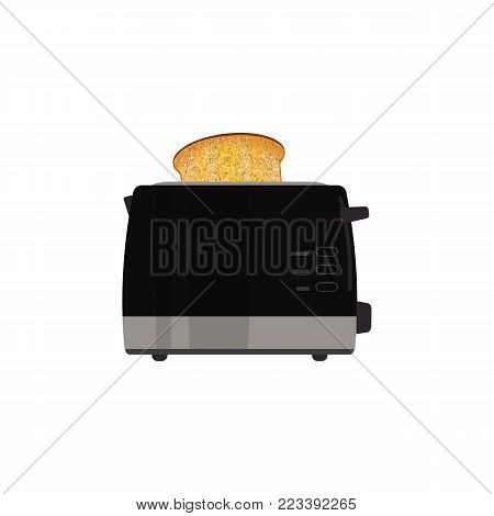 Black electric toaster on a white background. There is also a toast on the picture. Vector illustration.
