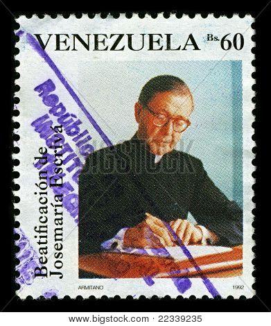 VENEZUELA-CIRCA 1992:A stamp printed in VENEZUELA shows image of Saint Josemaria Escriva de Balaguer was a Roman Catholic priest from Spain who founded Opus Dei, circa 1992.