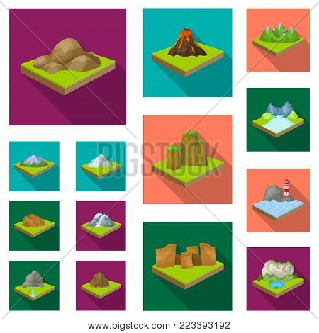 Mountains, massive flat icons in set collection for design. The surface of the earth vector isometric symbol stock  illustration.