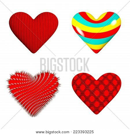 Four hearts: a knitted heart, a striped candy in the form of a heart, a heart with thorns, a guipure heart.