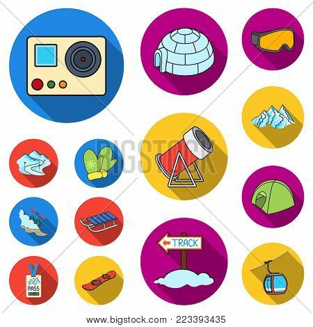 Ski resort and equipment flat icons in set collection for design. Entertainment and recreation vector symbol stock  illustration.