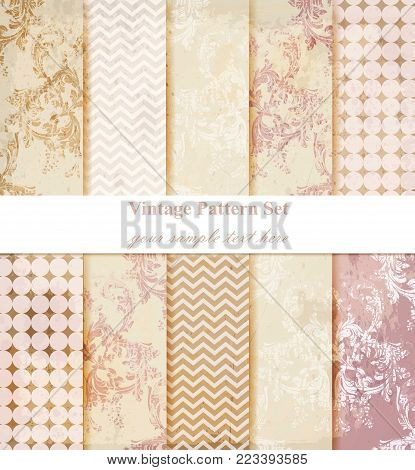 Vintage Damask pattern set Vector. Baroque ornament decor. Royal victorian background. Trendy color fabric texture
