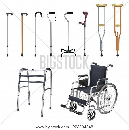 Wheelchair, cane, crutch, walkers. Set of special medical auxiliary means of transportation for people with musculoskeletal system diseases. Realistic objects  white background. Vector illustration.