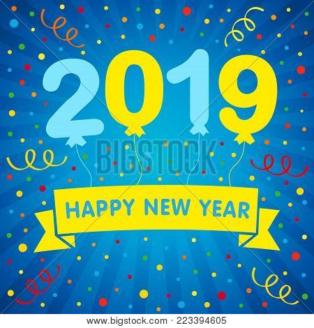2019 happy new year helium balloons lettering and colored confetti greeting card. Happy New Year 2019 design with yellow and blue balloons on navy blue background. Vector illustration