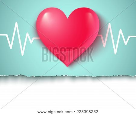 Vector illustration of a pink heart with pulse. Heart and pulse.