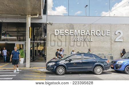Belo Horizonte, Brazil - Dec 22, 2017: Entrance to Aeroporto Internacional de Confins near Belo Horizonte, Minas Gerais, Brazil