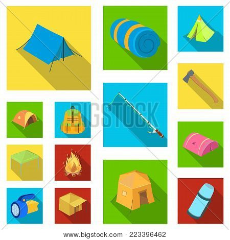 Different kinds of tents flat icons in set collection for design. Temporary shelter and housing vector symbol stock  illustration.