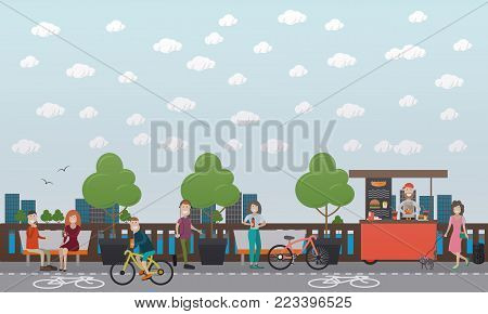 Vector illustration of young man riding bicycle along bike path. Embankment cityscape with bicycle lane and walkway. Outdoor workout concept, flat style design.