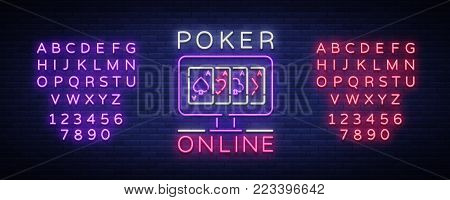 Online poker is a neon sign. Logo symbol in neon style svityaschyysya bright banner billboard night, bright neon poker, gambling casino. Play money online. Vector illustration. Editing text neon sign.