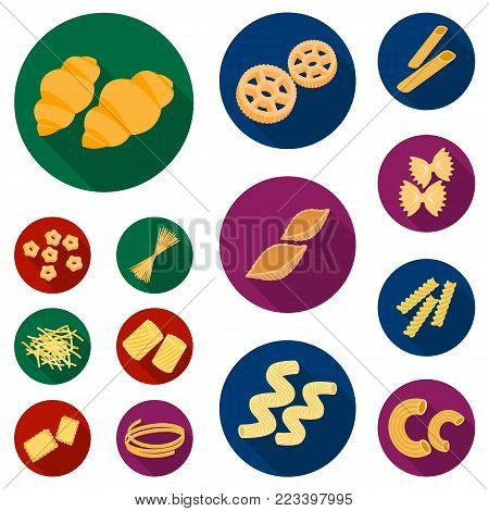 Types of pasta flat icons in set collection for design. Figured macaroni for eating vector symbol stock  illustration.