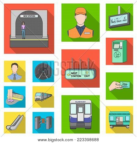 Metro, subway flat icons in set collection for design.Urban transport vector symbol stock  illustration.