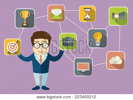 Businessman presenting customer relationship management. System for managing interactions with current and future customers. Flat vector illustration.