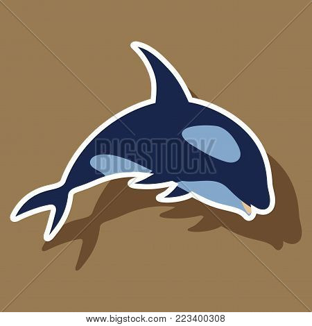 paper sticker on theme Save whales. killer whale