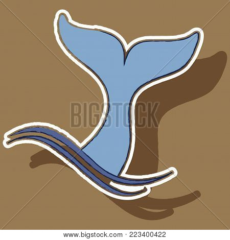 paper sticker on theme Save whales tail of a whale