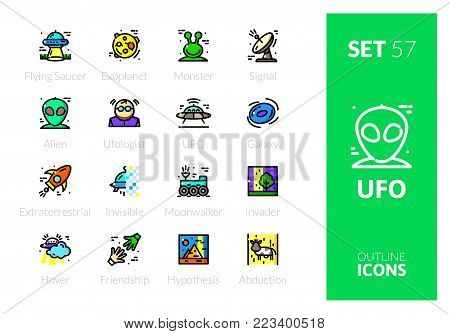 Outline color icons set in thin modern design style, flat line stroke vector symbols - UFO collection