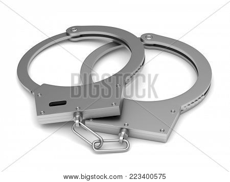 Handcuffs on white background. Isolated 3D illustration