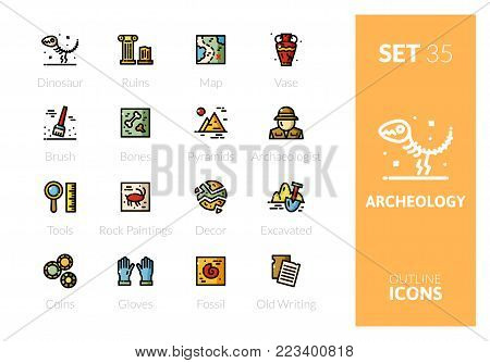 Outline color icons set in thin modern design style, flat line stroke vector symbols - archeology collection