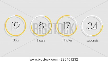 Flip Countdown timer vector clock counter with shadow in flat style