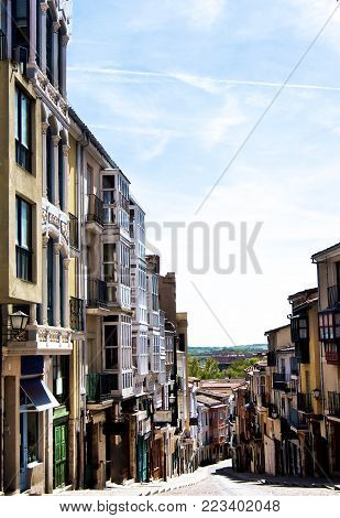 Narrow Medieval Street Balboraz in Sunny Day on Blue Sky background Outdoors. Zamora, Castilla y León, Spain