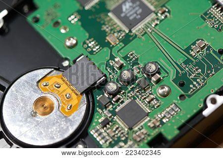 Top view AV Board, Internals of SATA hard disk drive poster