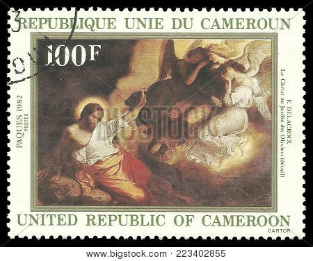 Cameroon - circa 1982: Stamp printed by Cameroon, Color edition on Art, shows Painting Christ in the Garden of Olives by Delacroi, circa 1982