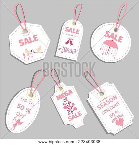 Valentine s day sale tag sale coupon voucher tag vector illustration heart discount label valentine price illustration vector design background template day holiday banner card gift offer promotion special.