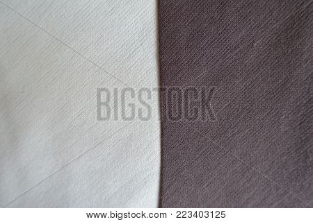 White and brown fabrics sewn together vertically