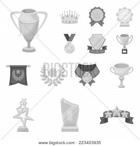 Awards and trophies monochrome icons in set collection for design.Reward and achievement vector symbol stock  illustration.