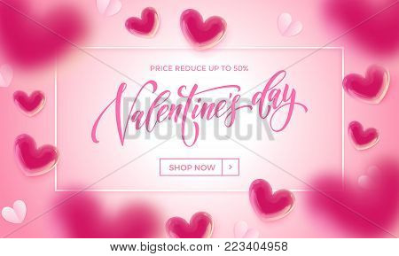 Valentine Day Greeting Card Swash Calligraphy Text For Greeting Card Design Template. Vector Happy V