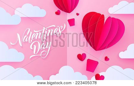 Valentines Day Paper Art Greeting Card Of Valentine Heart Hot Air Balloon With Gift Box On White Clo