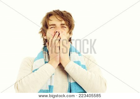 Guy In Striped Blue Towel With Sleepy Face Expression Yawning