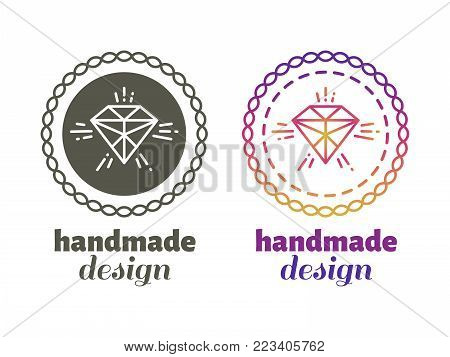 Hand made design labels - monochromic and bright hipster hand craft emblems isolated on white background. Vector illustration