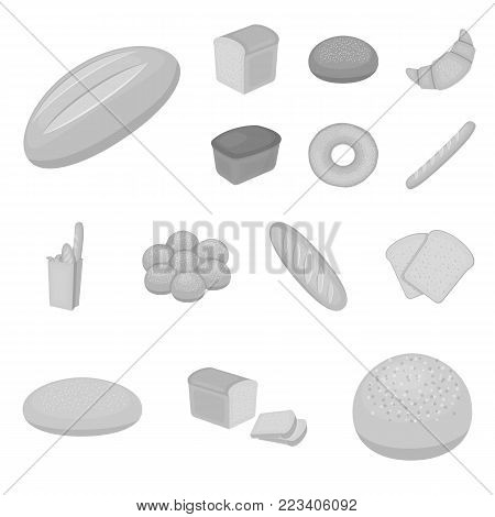 Types of bread monochrome icons in set collection for design. Bakery products vector symbol stock  illustration.