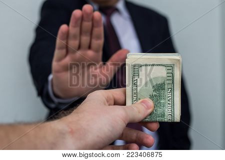 Bribe And Corruption, Offered Cash To A Businessman In A Suit, Does Not Want To Take Them, Hold Upri