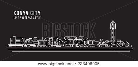 Cityscape Building Line art Vector Illustration design - Konya city poster