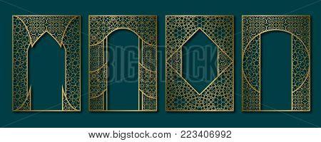 Vintage frames set in arabesque style. Book, booklet, brochure golden covers, greeting card or leaflet backgrounds templates.