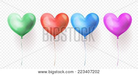 Heart Balloon Isolated Glossy Icon For Valentines Day, Wedding Or Birthday Greeting Card Design Temp